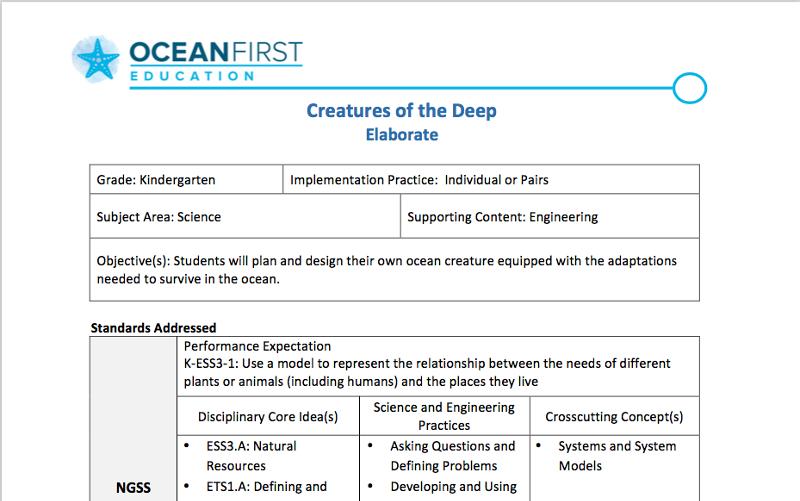 360 Virtual Field Trips Lesson Plans Ocean First Education